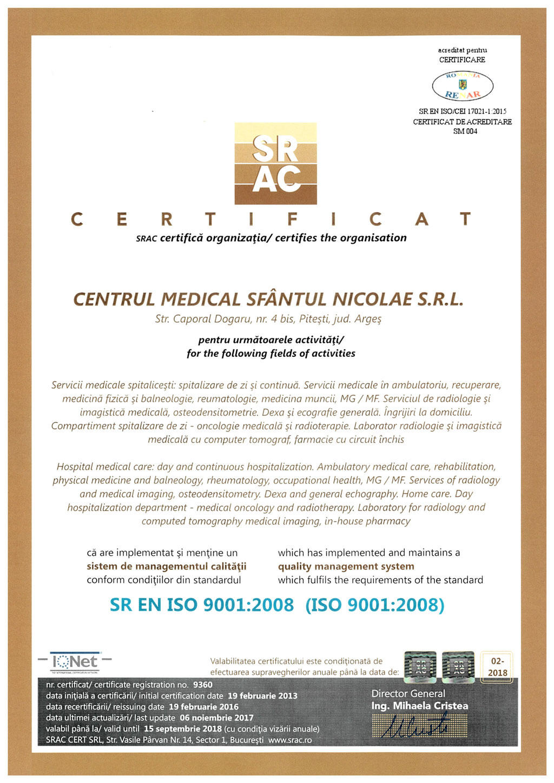 Certificare Romania SRAC CERT ISO9001:2008
