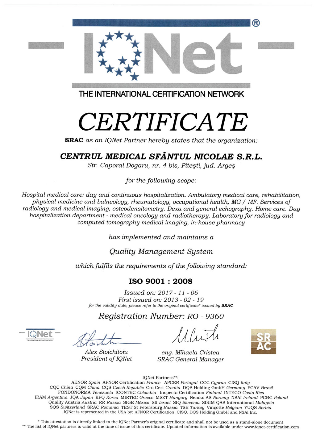 Certificare internationala IQNET ISO9001:2008